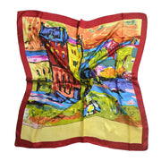 Women's 100% Silk Square Scarf with Graphic Print, 33*33 Inch (colorful house' oil painting print)