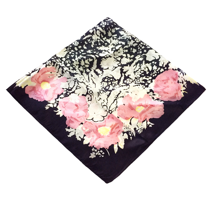 Women's 100% Silk Square Scarf with Graphic Print, 33*33 Inch (new white pink flower)