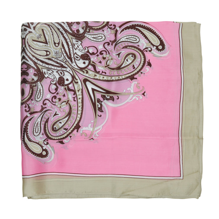 Women's 100% Silk Square Scarf with Graphic Print, 33*33 Inch (pink luxury pattern)