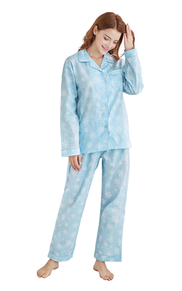 Women's Cotton Long Sleeve Woven Pajama Set-Blue with White Snowflake