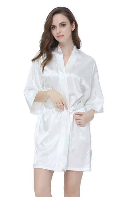 Women's Satin Short Kimono Robes-White