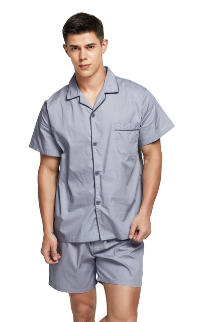 Men's Cotton Short Sleeve Woven Pajama Set-Gray with Black Piping