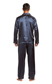 Men's Silk Satin Pajama Set Long Sleeve-Navy and Golden Diamond Squre