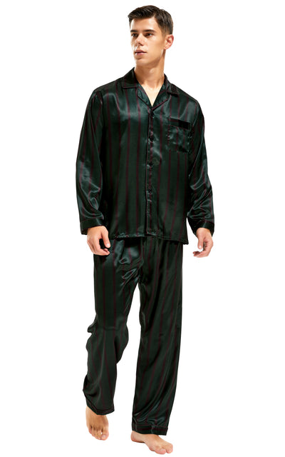 Men's Silk Satin Pajama Set Long Sleeve-Green and Burgundy Striped