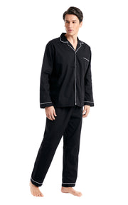 Men's Cotton Long Sleeve Woven Pajama Set-Black with White Piping