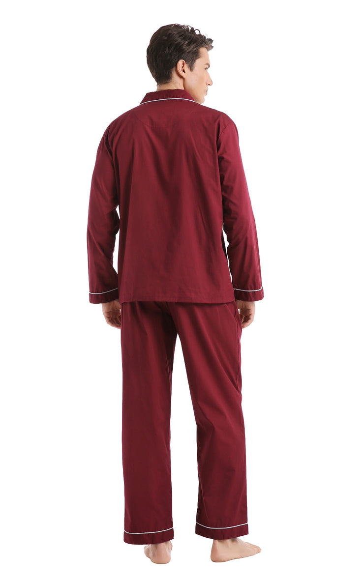 Men's Cotton Long Sleeve Woven Pajama Set-Burgundy with White Piping