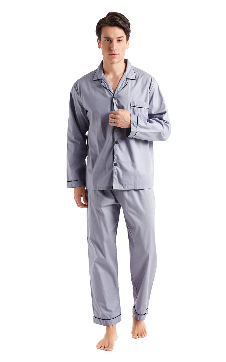 Men's Cotton Long Sleeve Woven Pajama Set-Gray with Black Piping