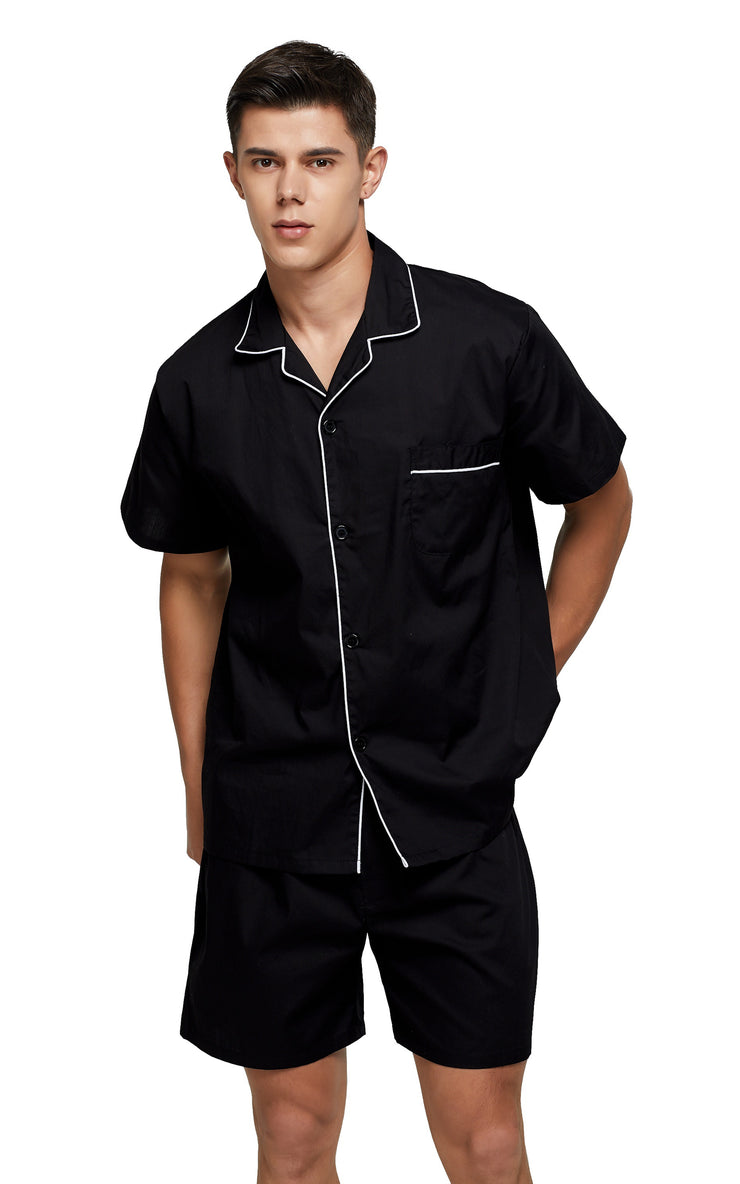 Men's Cotton Short Sleeve Woven Pajama Set-Black with White Piping