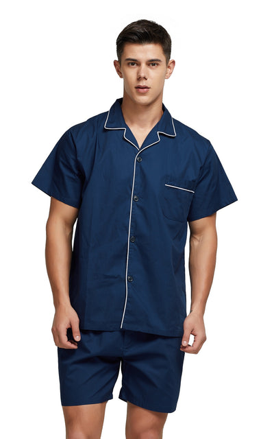 Men's Cotton Short Sleeve Woven Pajama Set-Navy Blue with White Piping