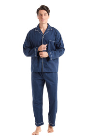 Men's Cotton Long Sleeve Woven Pajama Set-Navy Blue with White Piping