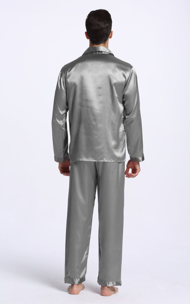 Men's Silk Satin Pajama Set Long Sleeve-Gray
