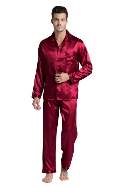 Men's Silk Satin Pajama Set Long Sleeve-Burgundy