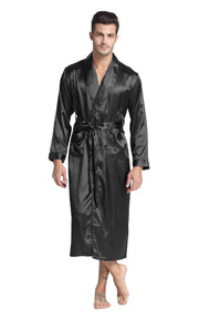 Men's Satin Long Robe with Shawl Collar-Black