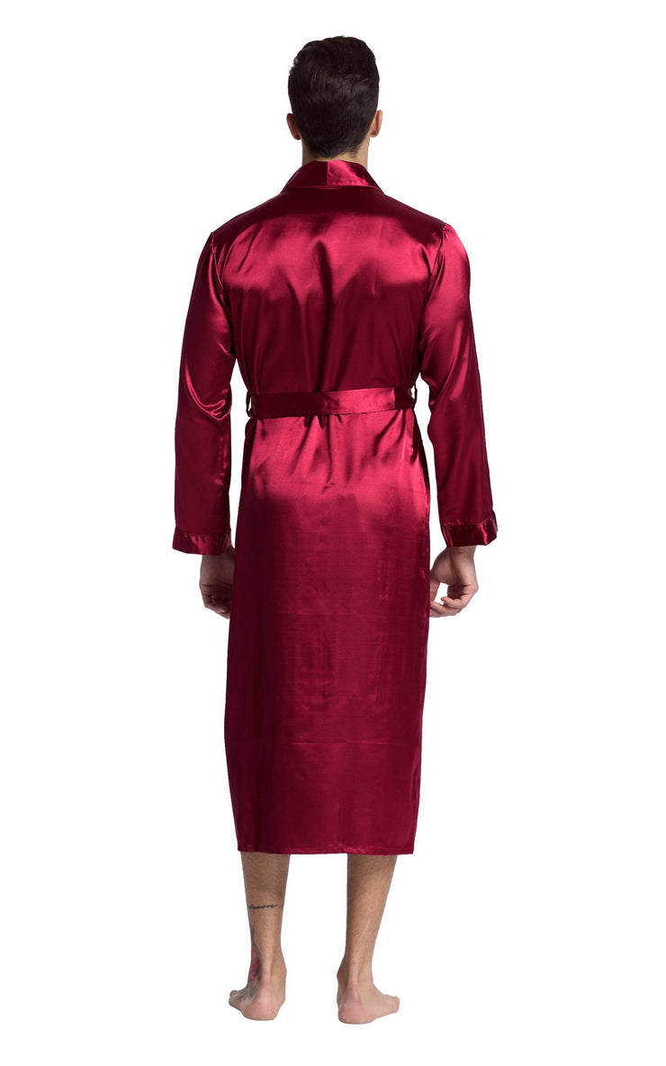 Men's Satin Long Robe with Shawl Collar-Burgundy