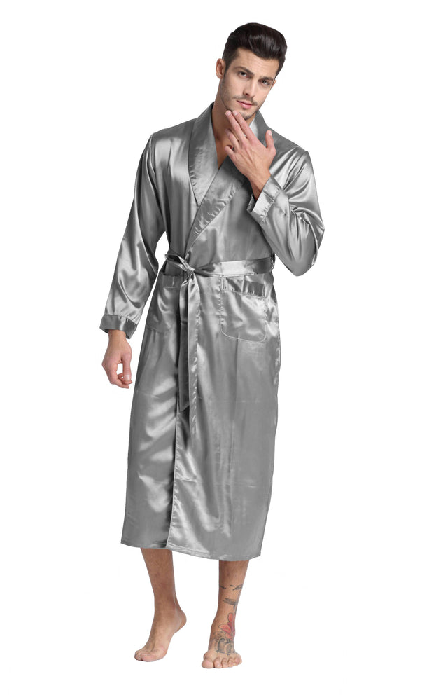 Men's Satin Long Robe with Shawl Collar-Gray