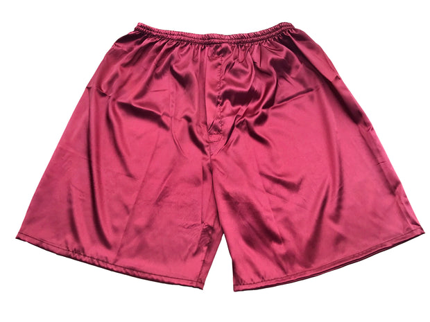 Men's Satin Boxers Shorts Underwear Pack of 2-Burgundy+Black