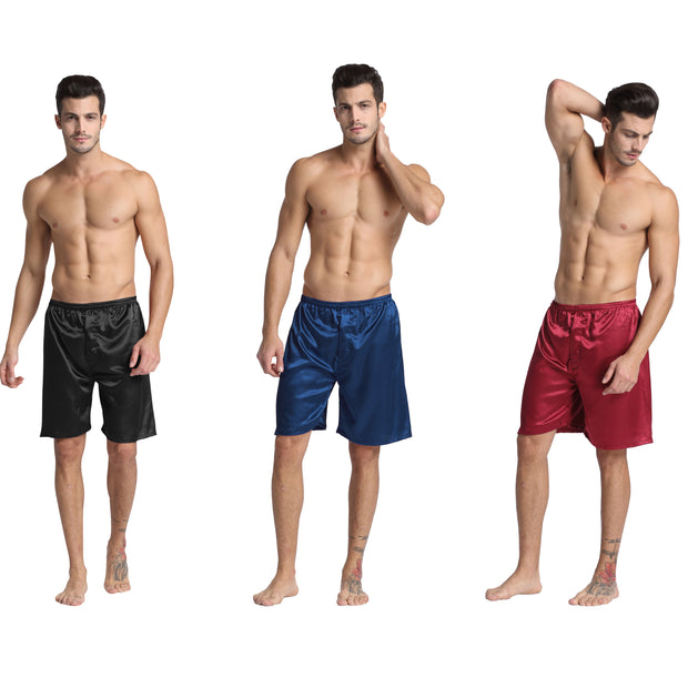 Men's Satin Boxers Shorts Underwear Pack of 3-Black+Burgundy+Navy Blue