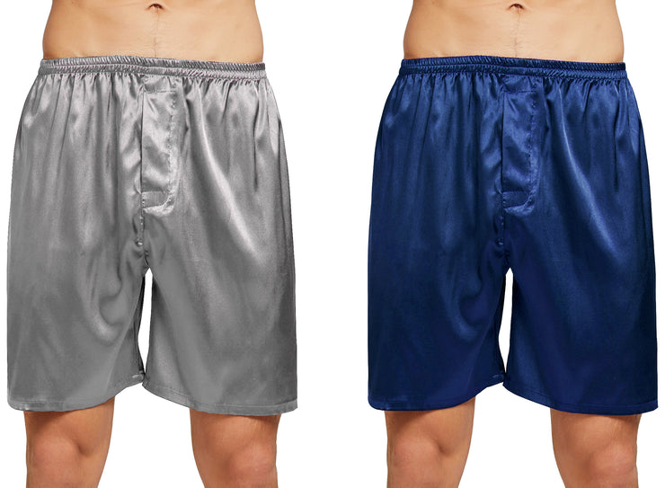 Men's Satin Boxers Shorts Underwear Pack of 2-Navy Blue+Gray