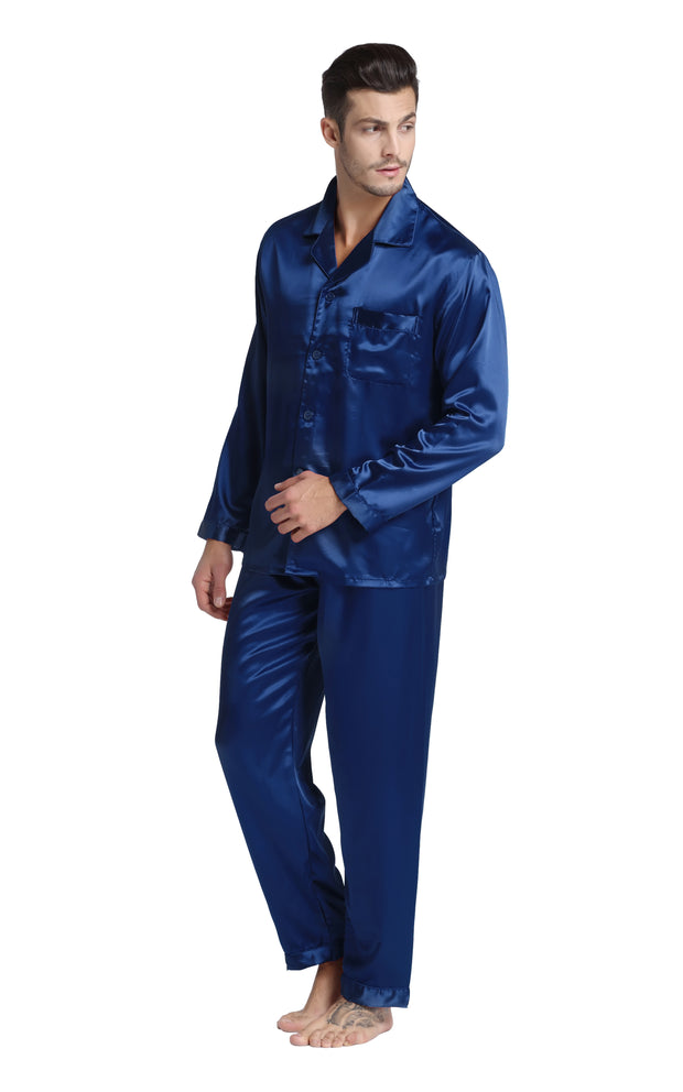 Men's Silk Satin Pajama Set Long Sleeve-Navy Blue