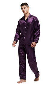 Men's Silk Satin Pajama Set Long Sleeve-Dark Purple with Black Piping