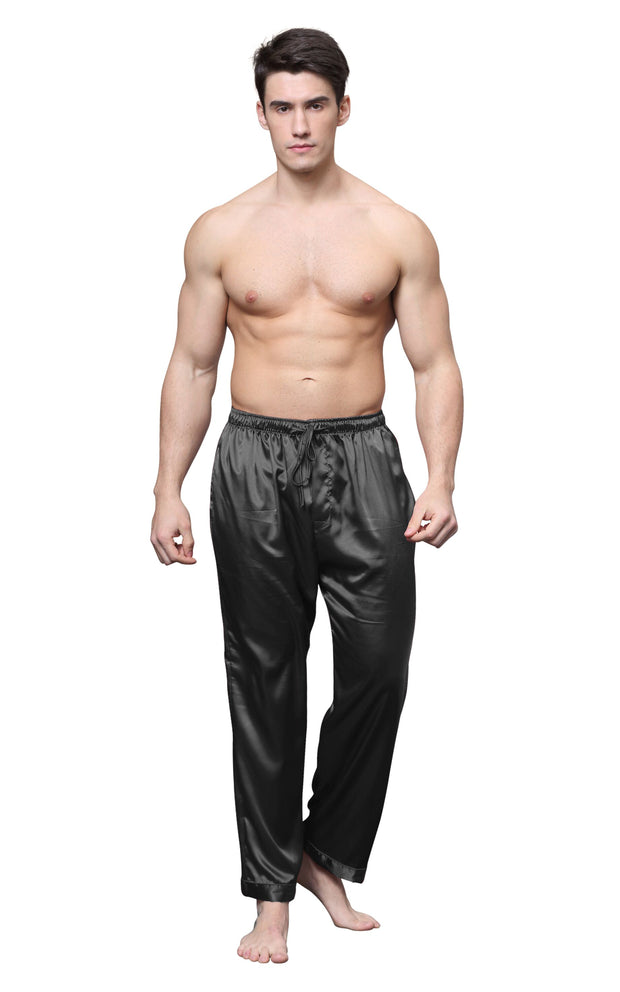 Men's Satin Pajama Pants, Long Pj Bottoms-Black