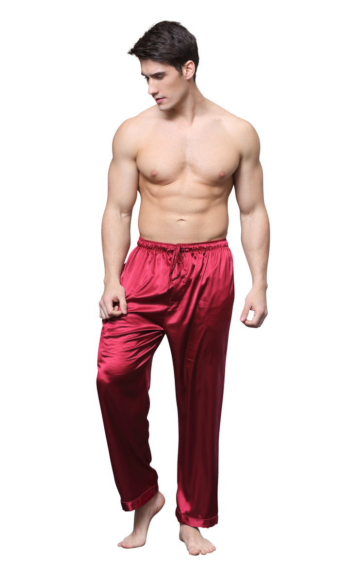 Men's Satin Pajama Pants, Long Pj Bottoms-Burgundy