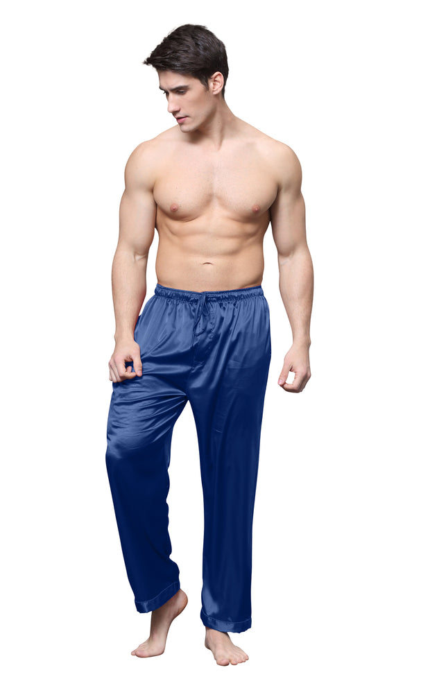 Men's Satin Pajama Pants, Long Pj Bottoms-Navy Blue