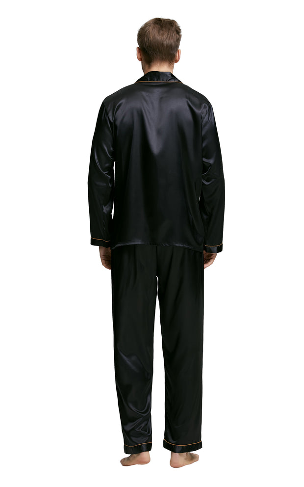 Men's Silk Satin Pajama Set Long Sleeve-Black with Golden Piping