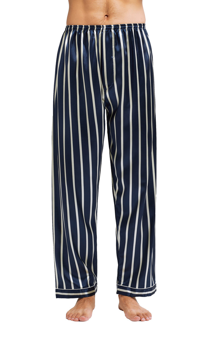 Men's Silk Satin Pajama Set Long Sleeve-Navy and Beige Striped