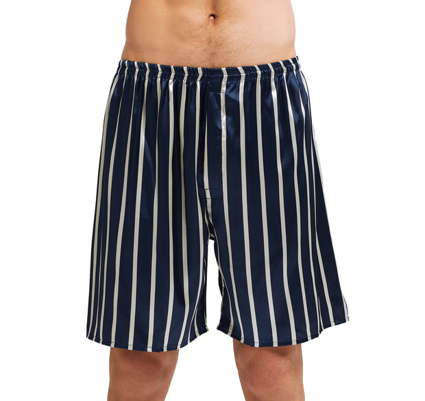 Men's Silk Satin Pajama Set Short Sleeve-Navy and Beige Striped