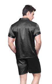 Men's Silk Satin Pajama Set Short Sleeve-Black