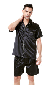 Men's Silk Satin Pajama Set Short Sleeve-Black with White Piping