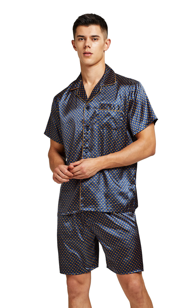 Men's Silk Satin Pajama Set Short Sleeve-Navy and Golden Diamond Squre