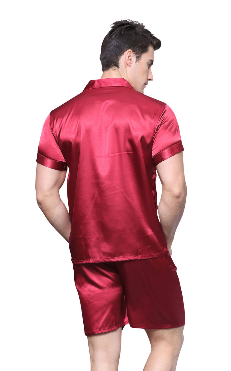 Men's Silk Satin Pajama Set Short Sleeve-Burgundy