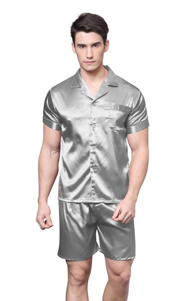 Men's Silk Satin Pajama Set Short Sleeve-Gray
