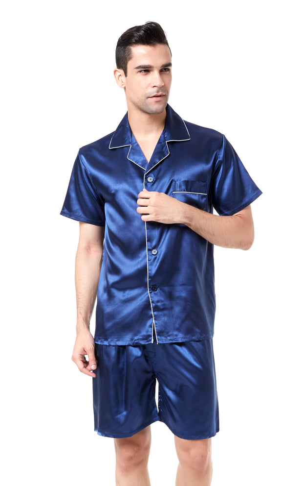 Men's Silk Satin Pajama Set Short Sleeve-Navy Blue with White Piping