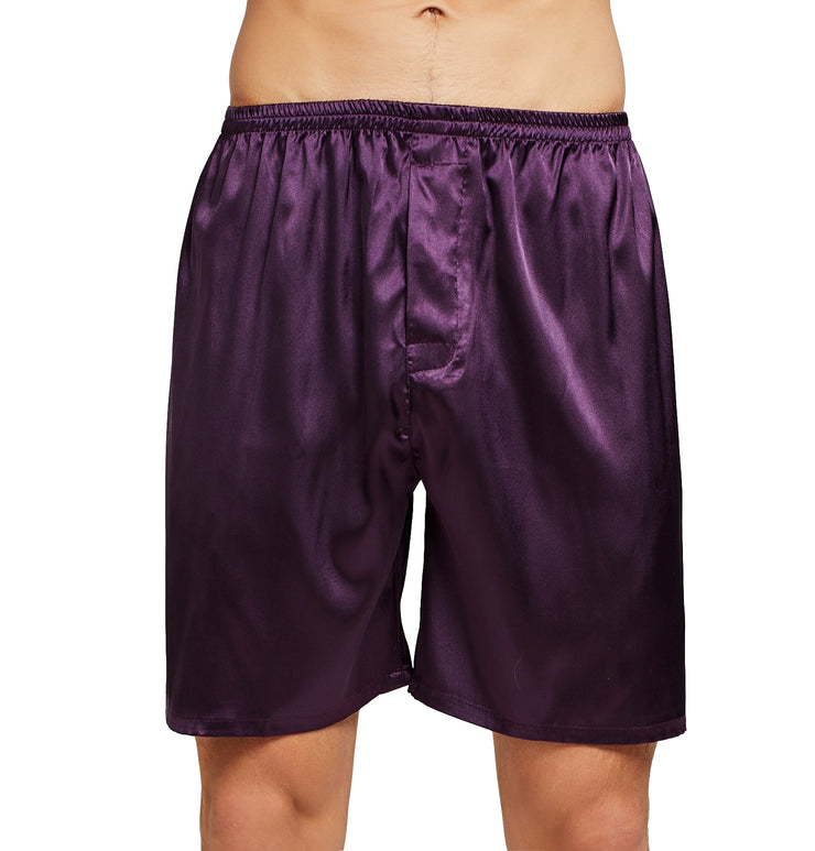 Men's Silk Satin Pajama Set Short Sleeve-Dark Purple with Black Piping