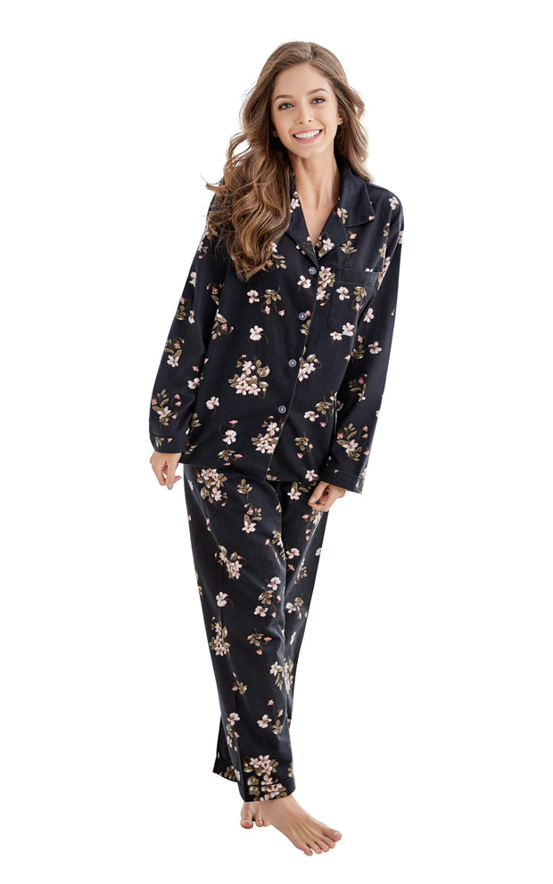 Women's Cotton Long Sleeve Flannel Pajama Set-Black Floral Print