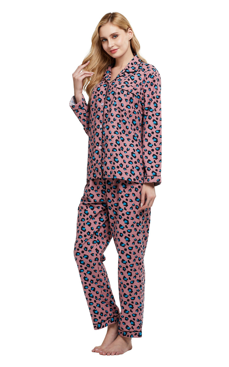 Women's Cotton Long Sleeve Flannel Pajama Set-Pink with Blue Leopard