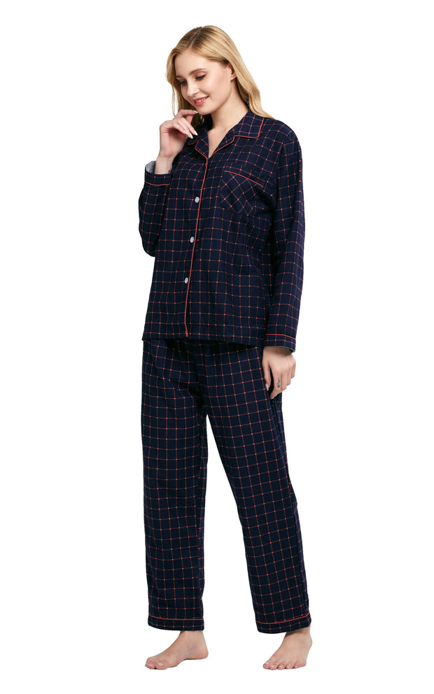 Women's Cotton Long Sleeve Flannel Pajama Set-Navy Blue Plaid