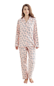 Women's Cotton Long Sleeve Flannel Pajama Set-Light Pink with Green Branches