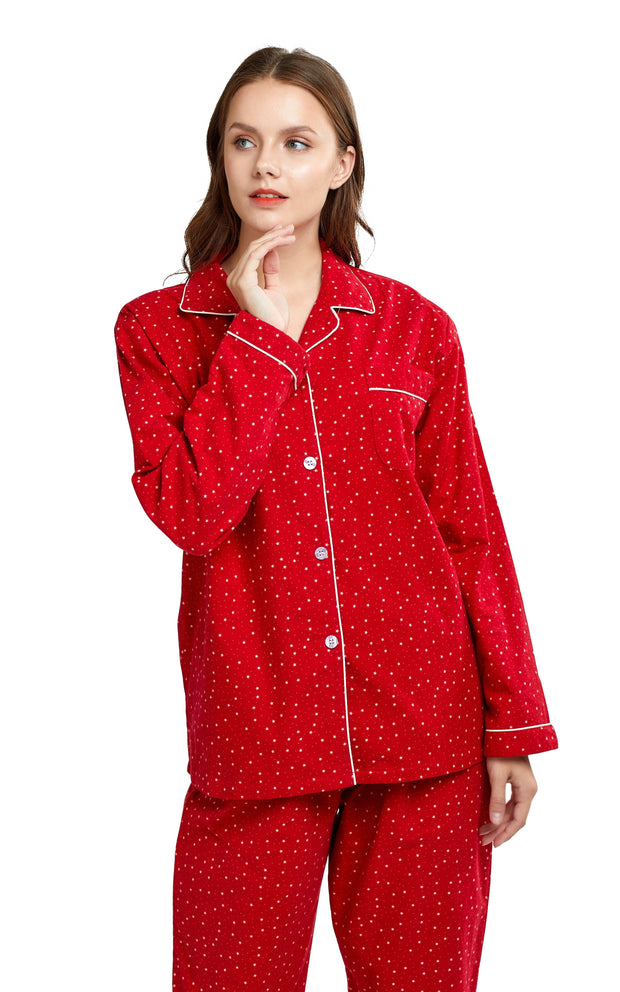 Women's Cotton Long Sleeve Flannel Pajama Set-Red with Beige Stars