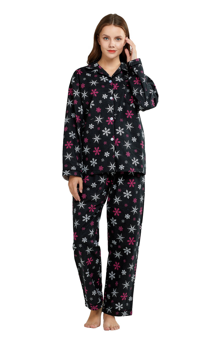 Women's Cotton Long Sleeve Flannel Pajama Set-Black with Snowflakes