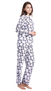 Women's Cotton Long Sleeve Woven Pajama Set-White with Purple Paisleys