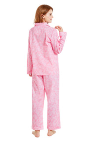 Women's Cotton Long Sleeve Woven Pajama Set-Pink with White Paisleys