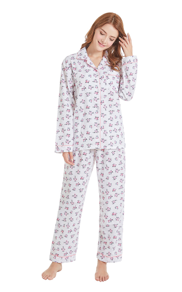 Women's Cotton Long Sleeve Woven Pajama Set-White with Pink Floral Print