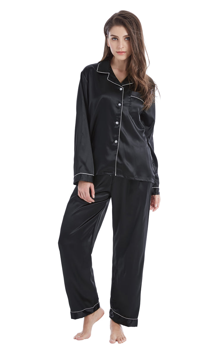 Women's Silk Satin Pajama Set Long Sleeve-Black with White Piping
