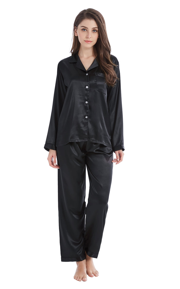 Women's Silk Satin Pajama Set Long Sleeve-Black