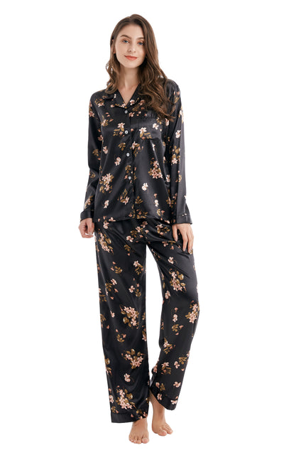 Women's Silk Satin Pajama Set Long Sleeve-Black Floral Print