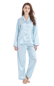 Women's Silk Satin Pajama Set Long Sleeve-Light Blue with White Piping
